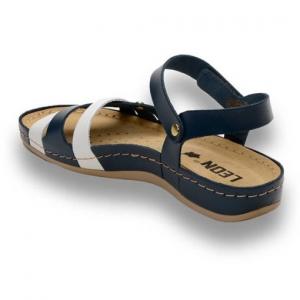 Sandale confortabile Leon 961 Albastru-Alb
