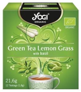 Yogi Tea - Ceai BIO cu ceai verde, lemon grass si busuioc, 12 plicuri - 21,6g