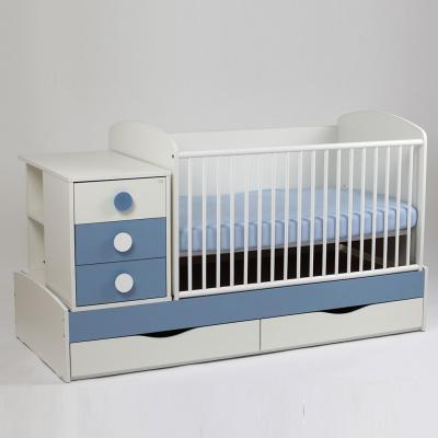 Patut copii si bebelusi Transformer Silence Grilaj Culisant Alb-Albastru Deschis + Saltea Confort