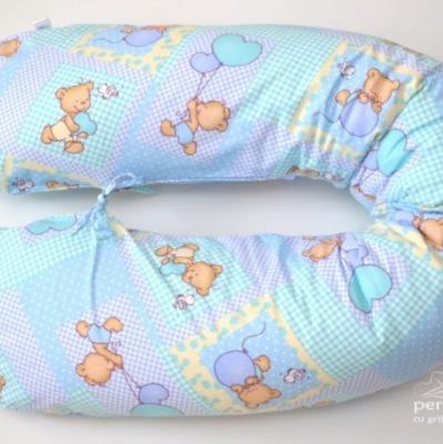Pernă gravidă cornuleț ursuleti, pe albastru (3 in 1)