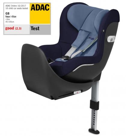 GB Vaya Sapphire Blue. I-Size, isofix, rotativ. De la naștere la 18 kg sau 105 cm (aprox. 4 ani). Poziționare rear și front facing. Nota Gut în testul ADAC.