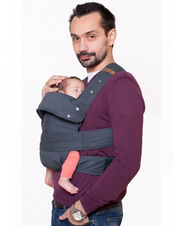 MARSUPI Grey, marime S/M (talie max. 100 cm), ergonomic, bumbac organic, 0 - 1 an (VIDEO si Testare Gratuita)
