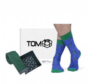 Set TOMbox X TIMMY sosete tancuri, cravata buline, batista flori, ac cravata mustata