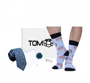 Set TOMbox X TIMMY -  sosete gogosi, ac cravata ochelari, batista, cravata albastra, ac rever