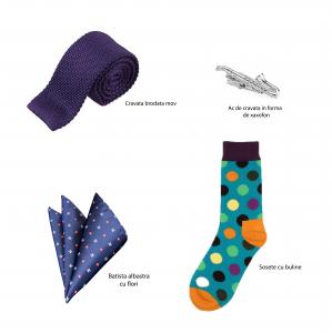 Set 4 accesorii sosete buline, cravata brodata mov, ac cravata saxofon, batista