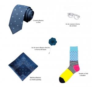 Set 5 accesorii - cravata albastra, batista paisley, ac cravata ochelari, sosete, ac rever
