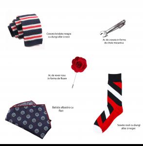 Set 5 accesorii - cravata brodata, ac cravata cheie, ac de rever, sosete, batista