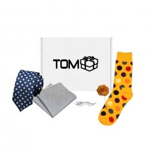 Set 5 accesorii - cravata cu flori, batista, sosete buline, ac cravata mustata, ac rever