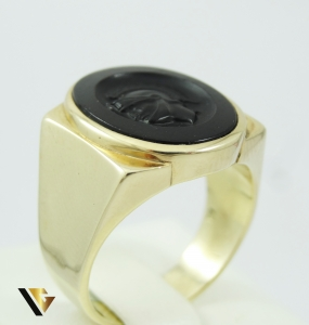 Inel din aur 10k, onix natural, SIFFARI, 9.80 grame