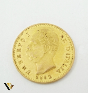 20 Lire, 1882, Umberto I, Italia, aur 900, 6.43 grame