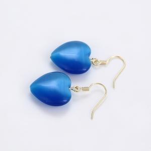Cercei Blu Big Blue Heart aurii cu cristal albastru