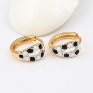Cercei Blu Black & White Dots aurii