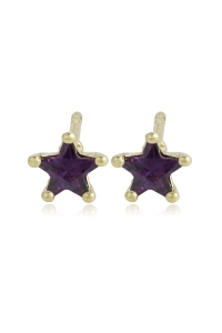 Cercei Blu Little Star aurii cu zirconiu mov
