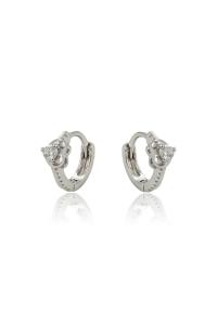 Cercei copii Blu Princess Heart argintii cu zirconiu alb