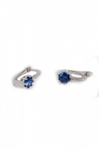 Cercei Blu Queen cu piatra albastra si zirconiu alb