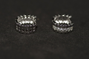 Cercei BLU cu 2 fete si 7 cristale zirconiu alb