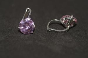 Cercei BLU Dream argintii cu piatra zirconiu roz