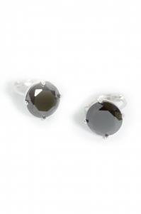 Cercei Blu Elegant piatra neagra rotunda