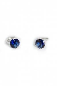 Cercei Blu Onyxia piatra albastra rotunda