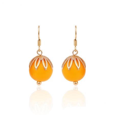 Cercei Blu Orange Fruit aurii cu piatra portocalie