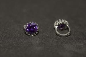 Cercei BLU Purple Flower argintii cu piatra zirconiu mov