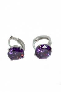 Cercei Blu Purple piatra mov rotunda