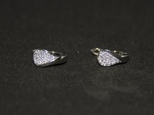 Cercei BLU Raindrop argintii cu zirconii albe
