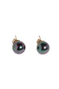 Cercei BLU Sphere cu tija aurie si perle