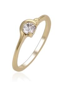 Inel Blu Golden Ring auriu cu zirconiu alb
