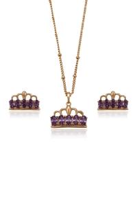 Set bijuterii Blu Crown Auriu cu zirconii multicolore