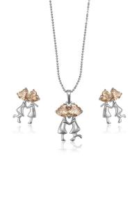 Set bijuterii Blu Lovers Argintiu cu zirconiu Champagne